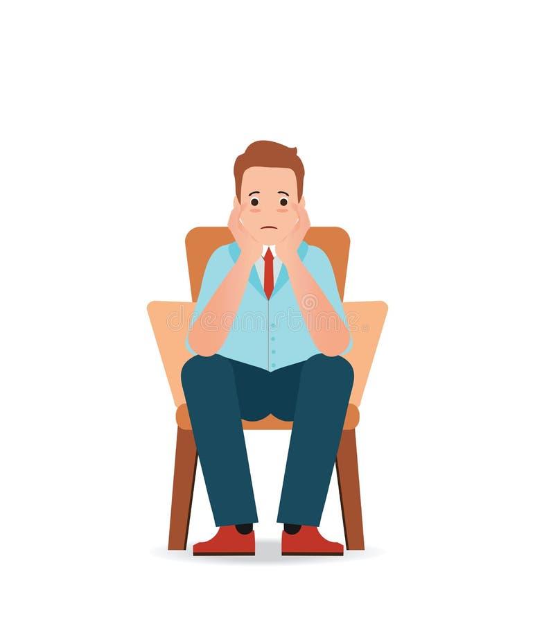 Känslig sorgsenhet för angelägen man och spänningssammanträde på stolen royaltyfri illustrationer