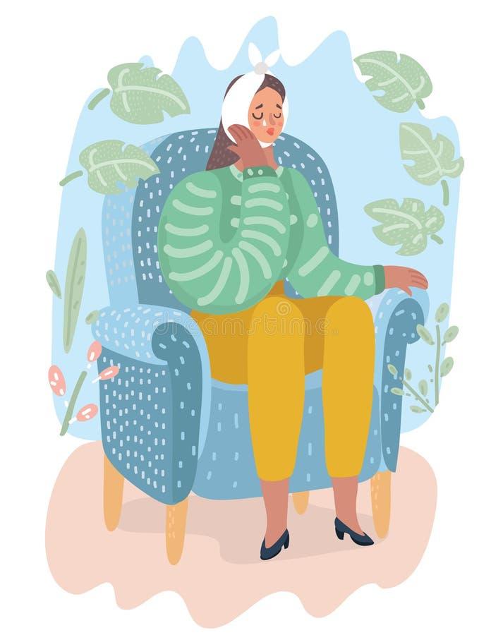 känslig tandkvinna stock illustrationer