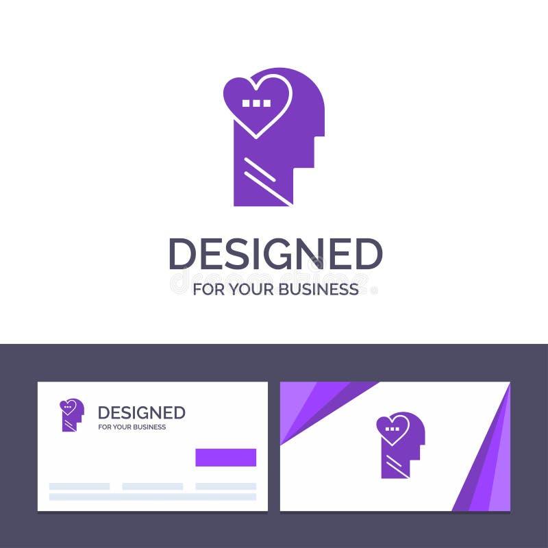 Känslor för idérik mall för affärskort och logo, förälskelse, mening, huvudvektorillustration royaltyfri illustrationer