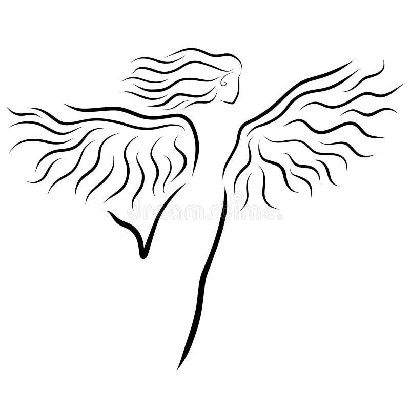 Känslor, sport eller dans, en slank bevingad kvinna i rörelsen stock illustrationer