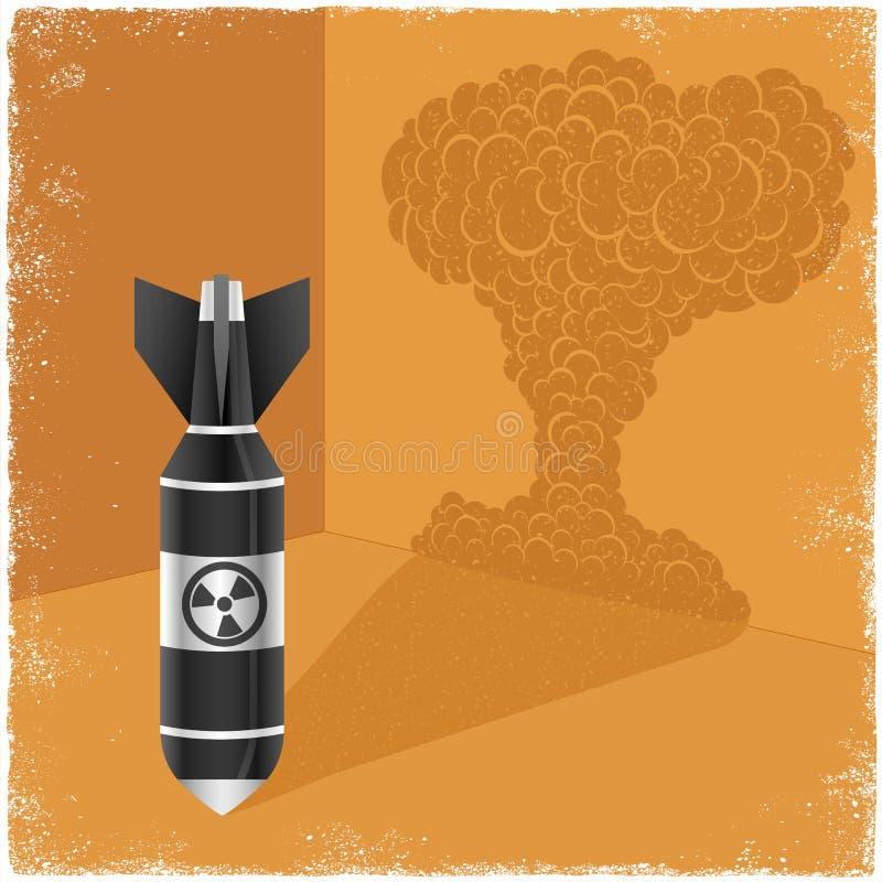 Kärn- bombardera rollbesättningskugga av explosionmolnet royaltyfri illustrationer