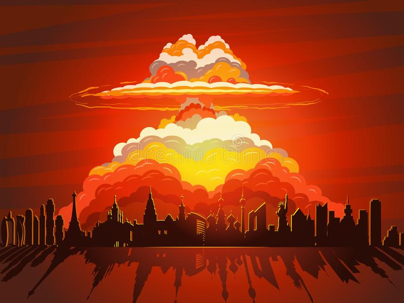 Kärn- explosion, atombomb som faller på jord royaltyfri illustrationer
