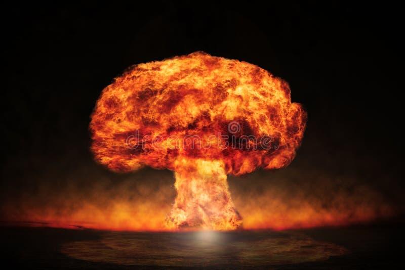 Kärn- explosion i en utomhus- inställning Symbol av miljöskydd och farorna av kärn- energi royaltyfria bilder