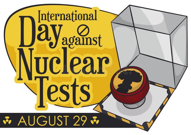 Kärn- knapp som är klar för krig under dagen mot kärn- prov, vektorillustration vektor illustrationer