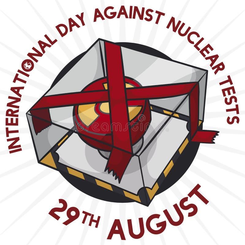 Kärn- knapp som bort förseglas för den internationella dagen mot kärn- prov, vektorillustration stock illustrationer