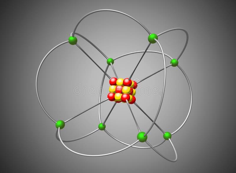 Kärn- modell för atom Abstrakt atomstruktur, illustration vektor illustrationer