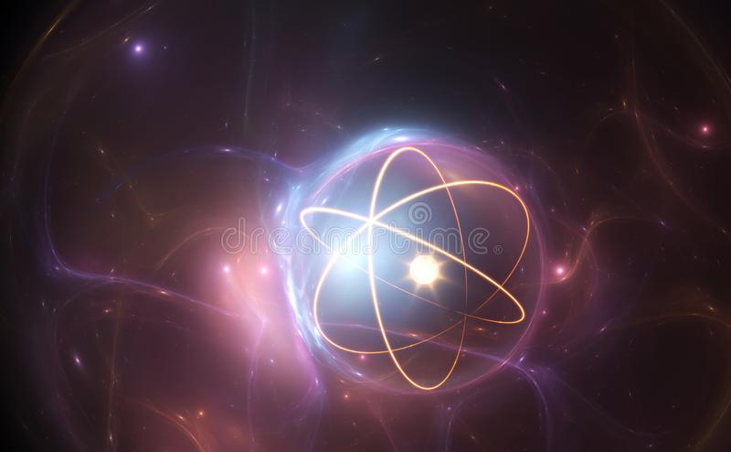 Kärn- modell för atom på driftig bakgrund royaltyfri illustrationer