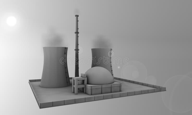 kärn- sun för strömstation stock illustrationer