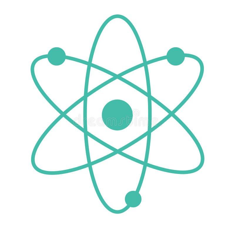 Kärn- symbol för atom på den vita bakgrunden stock illustrationer