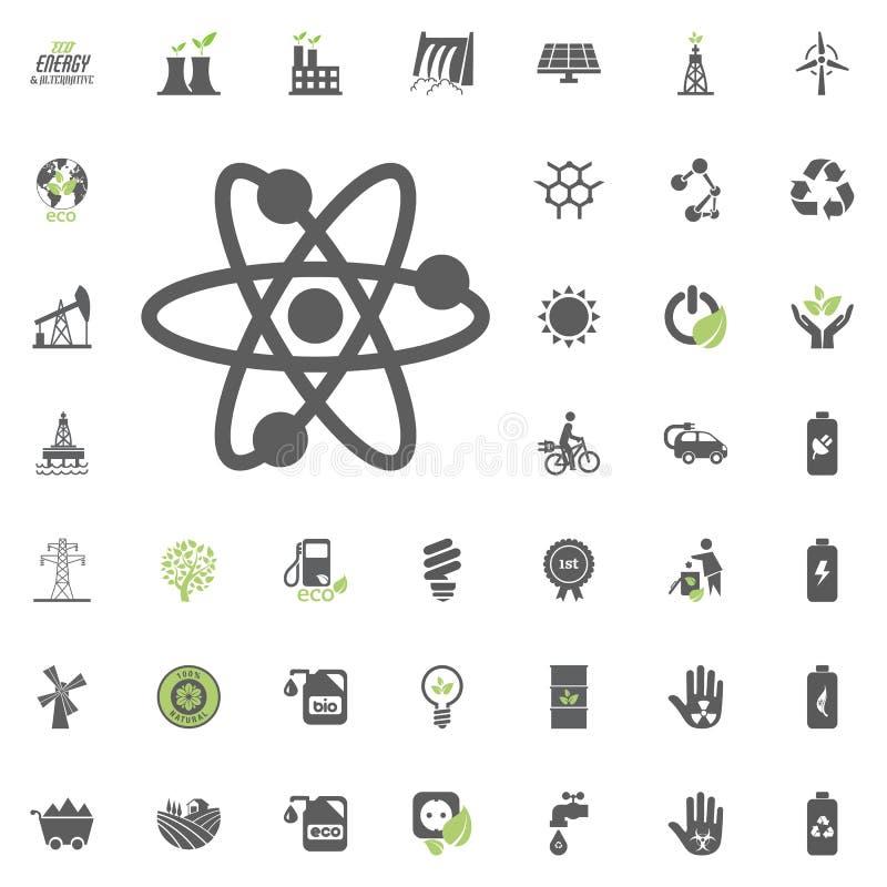 Kärn- symbol Uppsättning för Eco och för alternativ energi vektorsymbol Vektor för uppsättning för resurs för makt för elektricit vektor illustrationer