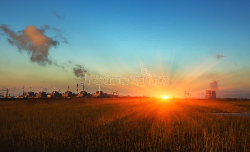 kärn- växtströmsolnedgång förorening arkivfoto
