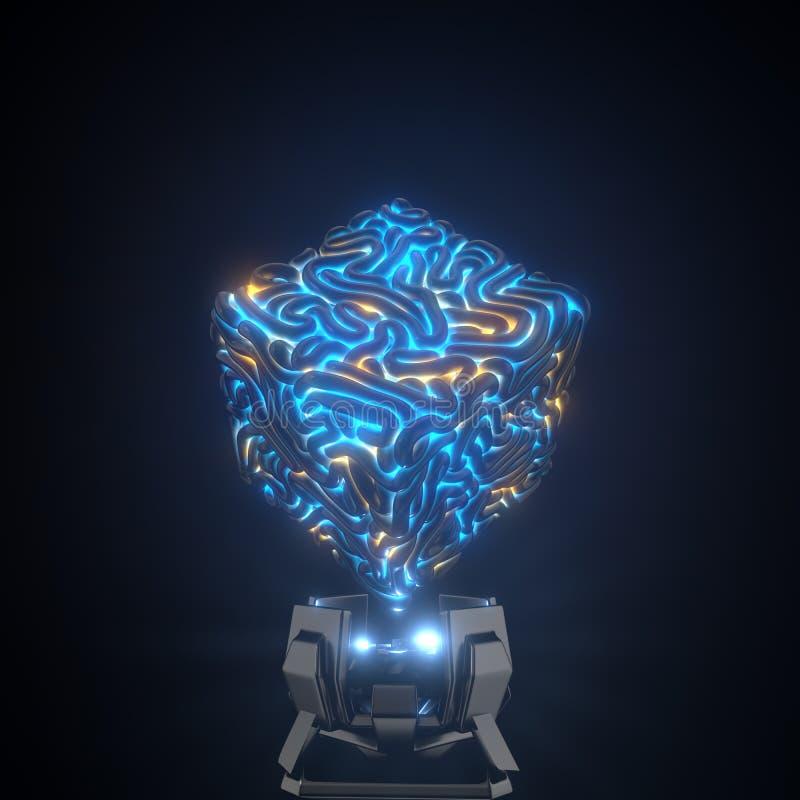 K?rna av kvantdatoren kubikhj?rna f?r artifactual intellekt illustration 3d vektor illustrationer