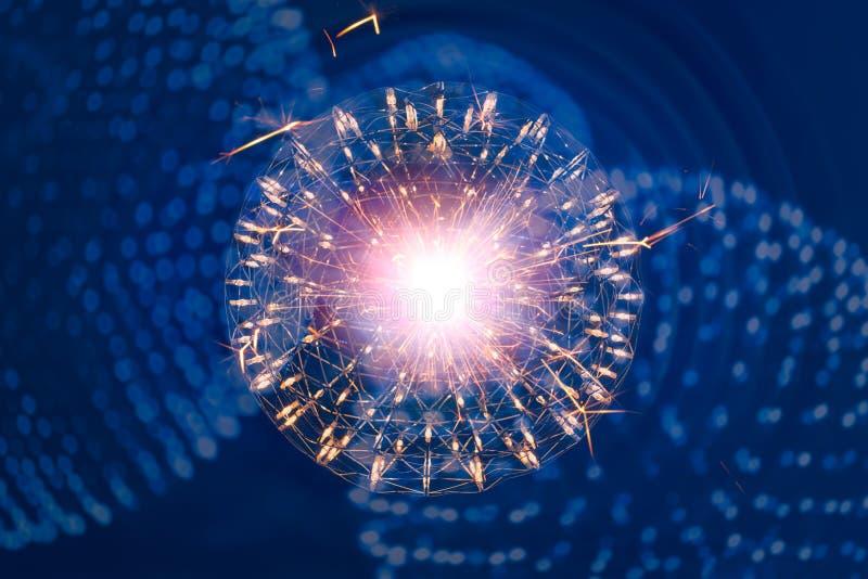 Kärnan av Atom Nuclear exploderar nano vetenskap för atombomb stock illustrationer