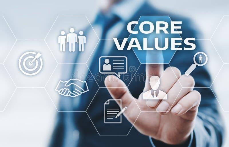 Kärnan värderar det Ansvar Etik Mål Företag begreppet arkivfoton