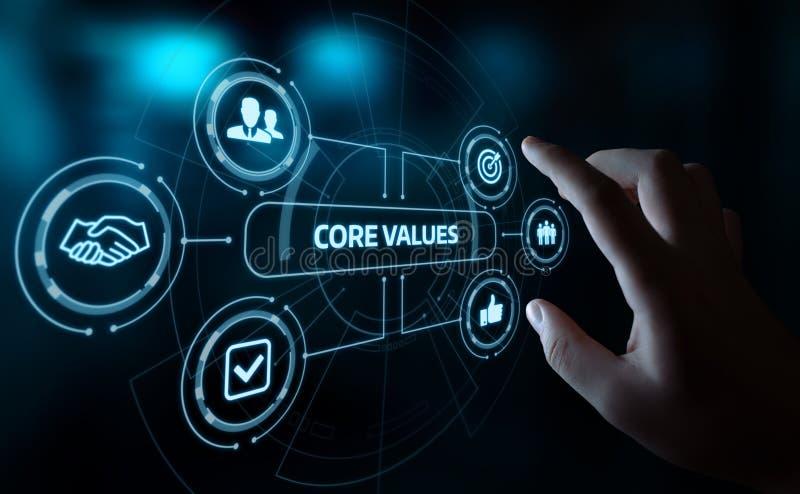 Kärnan värderar det Ansvar Etik Mål Företag begreppet stock illustrationer