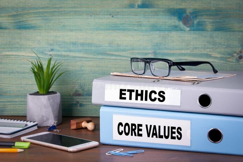Kärnavärden och etik Lyckad affärs- och karriärbakgrund arkivbilder