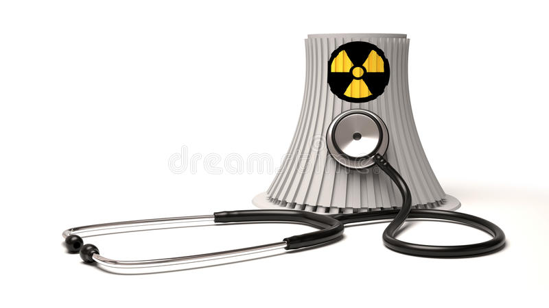 Kärnenergikraftverk och stetoskop på vit bakgrund royaltyfri foto