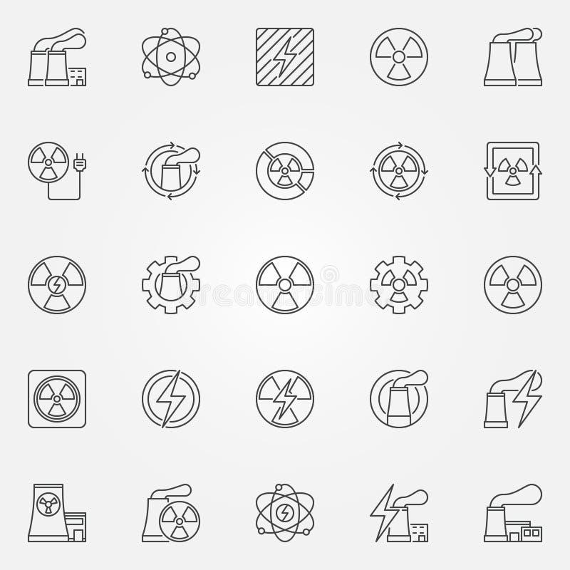 Kärnkraftsymbolsuppsättning stock illustrationer