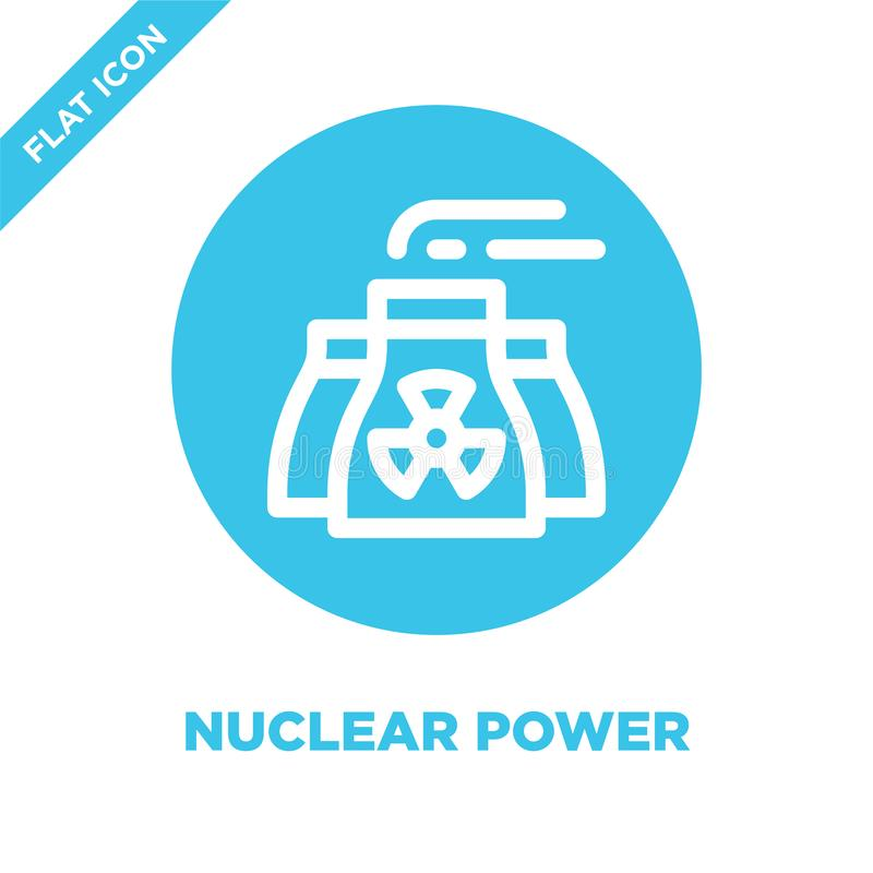 Kärnkraftsymbolsvektor Tunn linje illustration för vektor för kärnkraftöversiktssymbol kärnkraftsymbol för bruk på rengöringsduk  vektor illustrationer