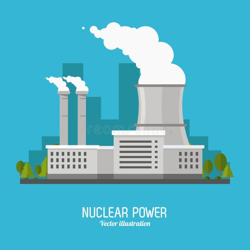Kärnkraftverk i den färgrika designen, vektorillustration royaltyfri illustrationer