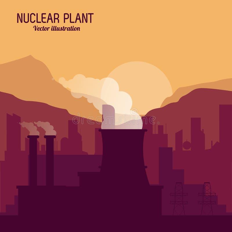 Kärnkraftverk i den färgrika designen, vektorillustration vektor illustrationer