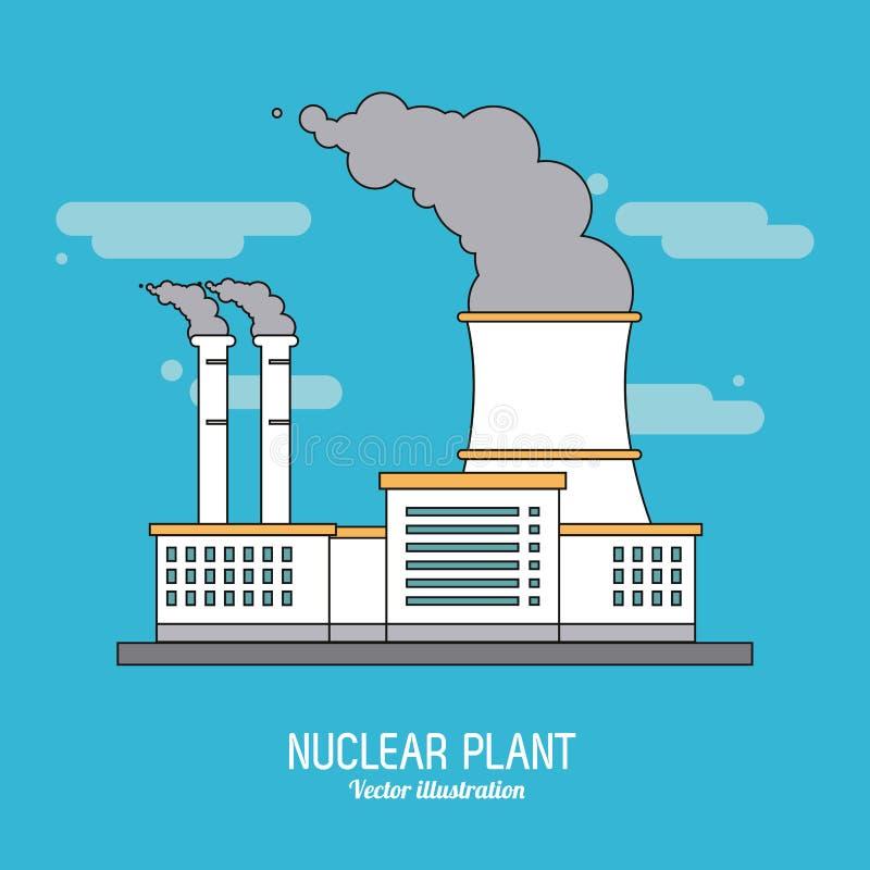 Kärnkraftverk i den färgrika designen, vektorillustration stock illustrationer