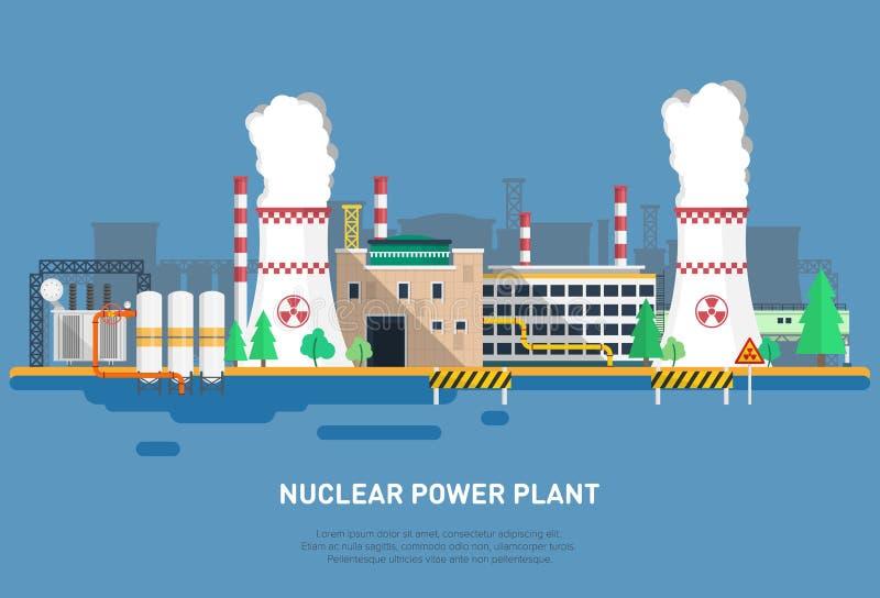 Kärnkraftverk i en plan stil Kylare, maktenhet, kontorsbyggnad och andra beståndsdelar av kraftverket royaltyfri illustrationer