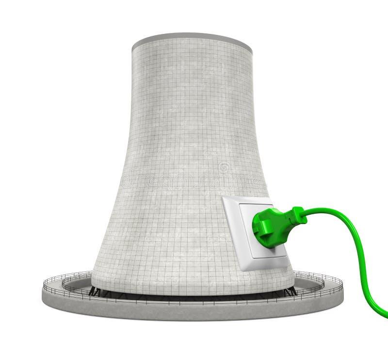 Kärnkraftverk med elektriskt uttag royaltyfri illustrationer