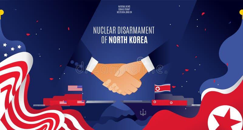Kärnvapennedrustning för partnerskap för handskakning för USA- och Nordkorea vektorbaner överenskommelse på kärnvapennedrustning, arkivfoton