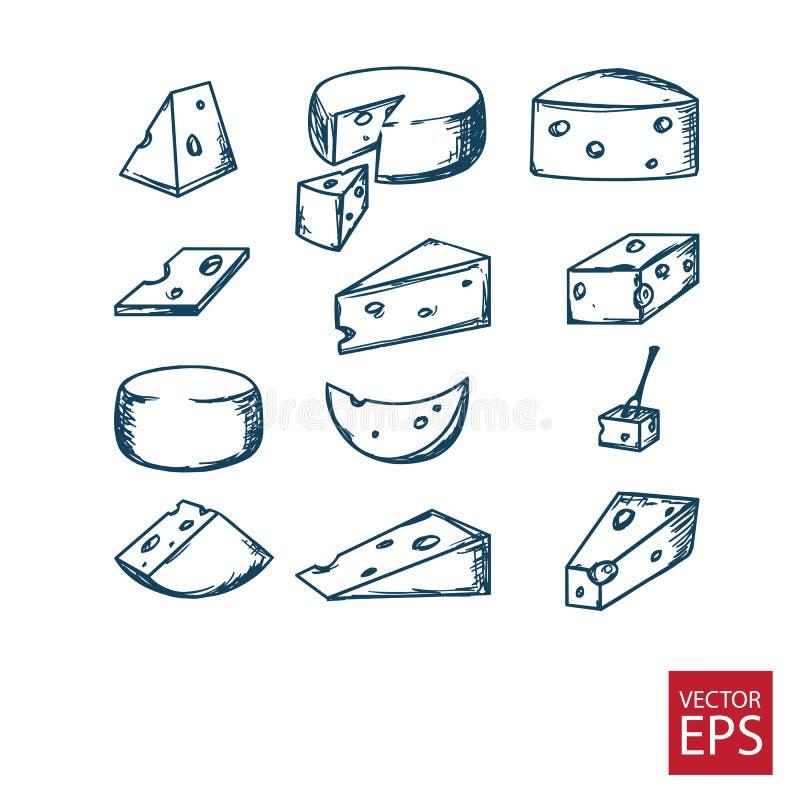 Käse im Stil des Gekritzels lizenzfreie stockfotos