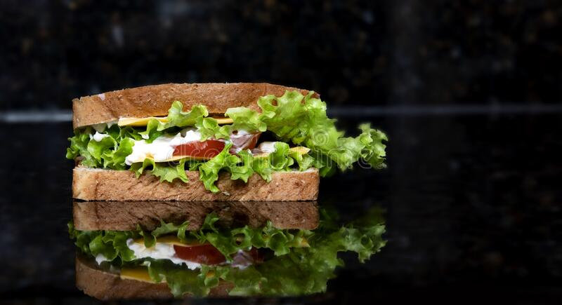 Käse Sandwich Snack auf schwarzem Hintergrund mit Reflexion lizenzfreie stockbilder