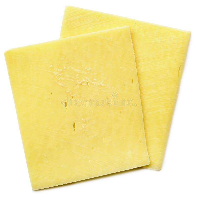Käse-Scheiben lokalisiert auf weißer Draufsicht lizenzfreies stockbild