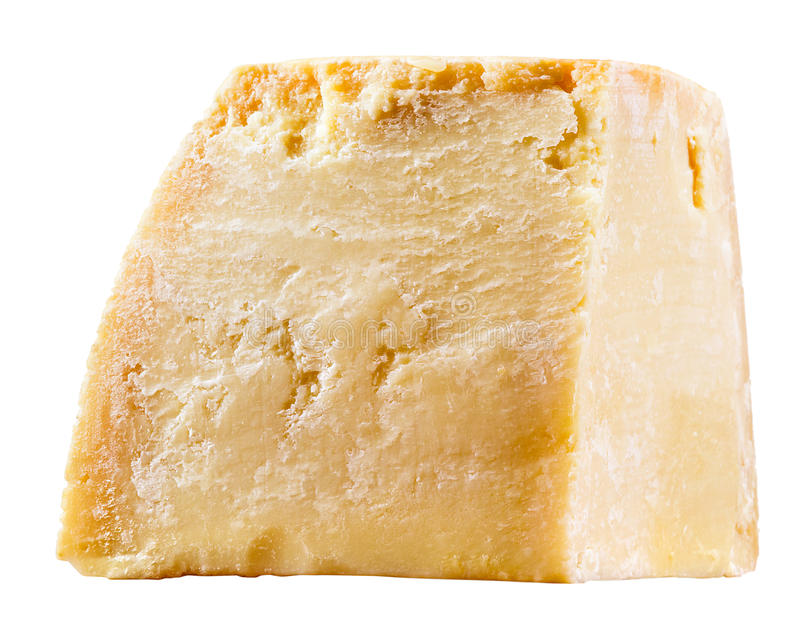 Käse. Stück Parmesankäse lokalisiert auf Weiß lizenzfreies stockfoto