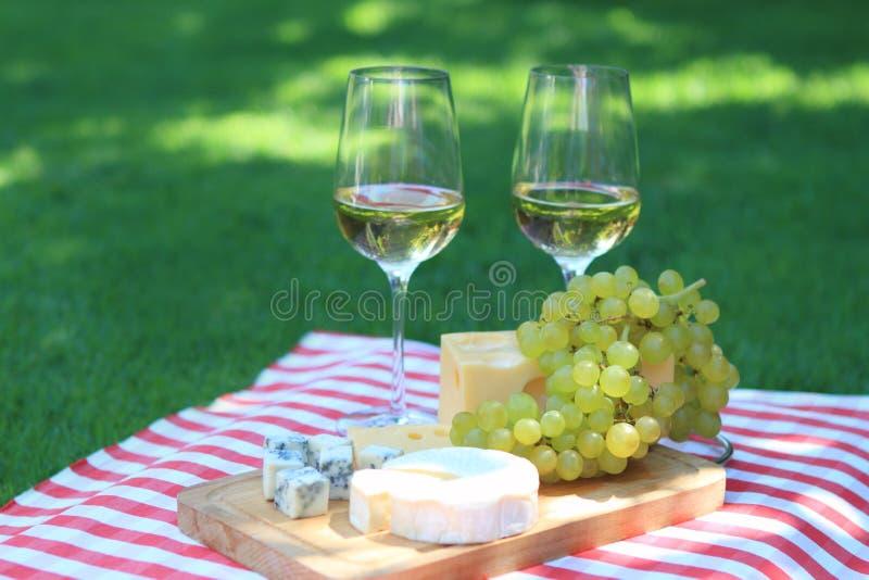 Käse, Trauben und weißer Wein lizenzfreie stockfotos