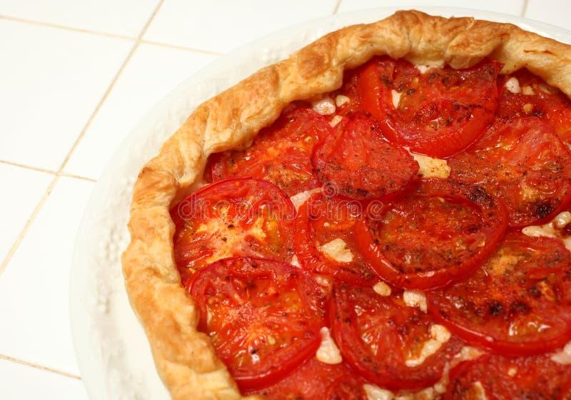 Käse und Tomatetorte lizenzfreies stockfoto