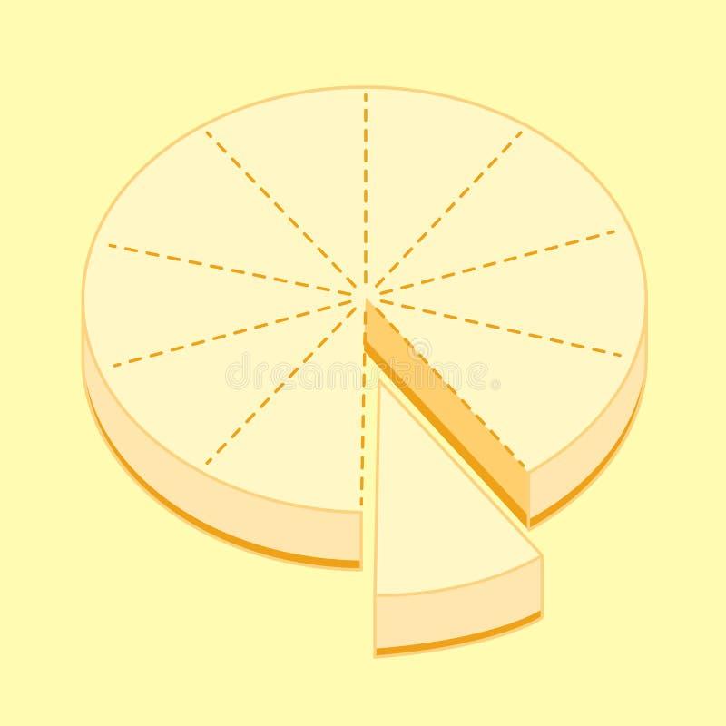 Käsekuchen zehn Stücke verteilen Entwurf, Skizzenillustration vektor abbildung