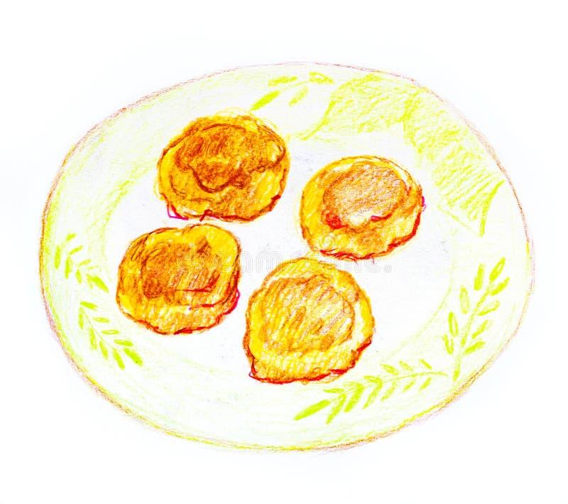 Käsepfannkuchen auf einer Platte gezeichnet mit farbigen Bleistiften auf einem weißen Hintergrund stock abbildung