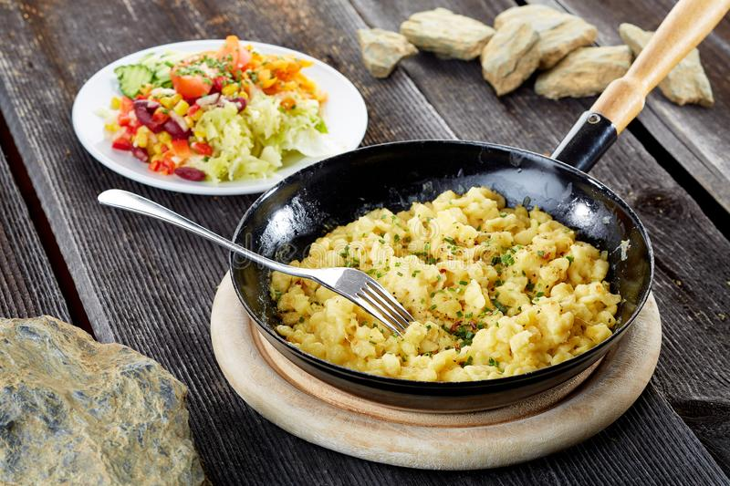 Cheese Noodels in iron pan royalty free stock images