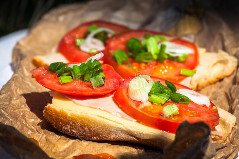 Käsestangenbrot mit Tomate lizenzfreies stockfoto