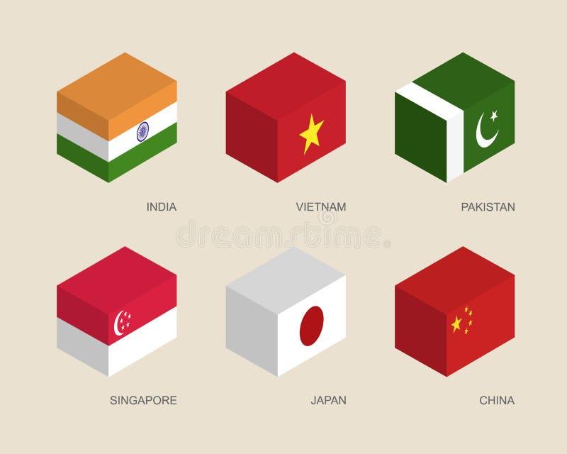 Kästen 3d mit Flaggen: Indien, Vietnam, China, Singapur, Pakistan, Japan stock abbildung