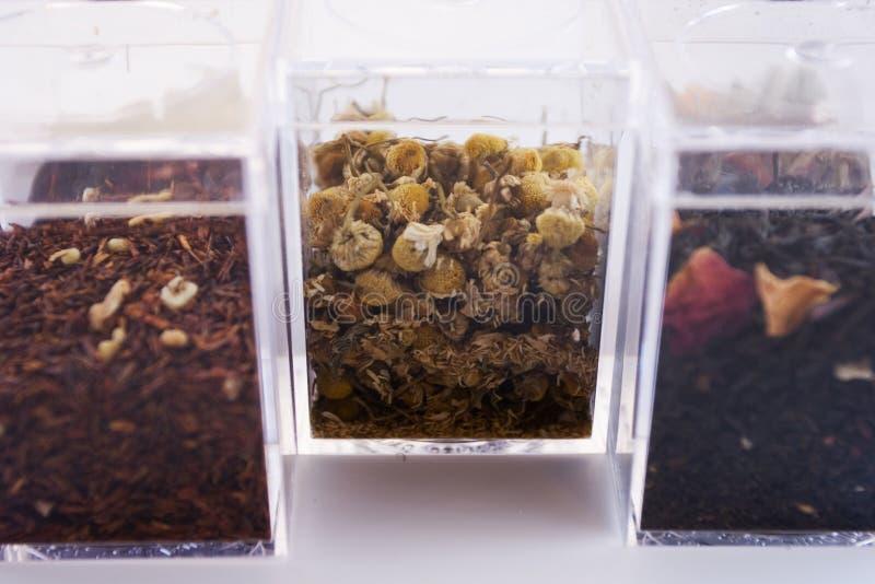 Kästen exotische Teeblätter zwei lizenzfreie stockbilder