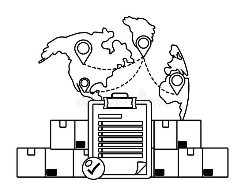 Kästen mit Checkliste in Schwarzweiss stock abbildung