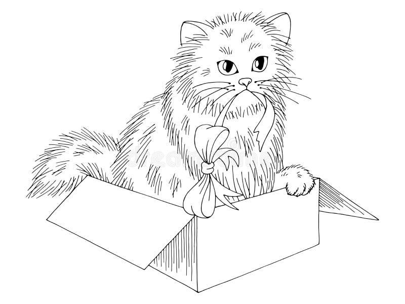 Kätzchen, das in einem Skizzen-Illustrationsvektor des Kastens grafischen schwarzen weißen lokalisierten sitzt vektor abbildung