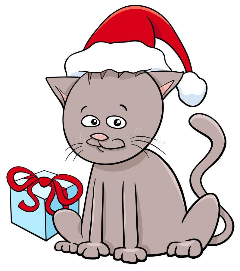 Kätzchen mit Geschenk auf Weihnachten stock abbildung