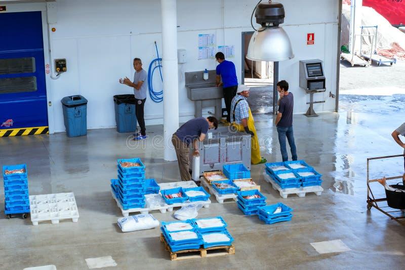 Käufer gehandelt am Förderer, Fischauktion in Blanes lizenzfreies stockfoto