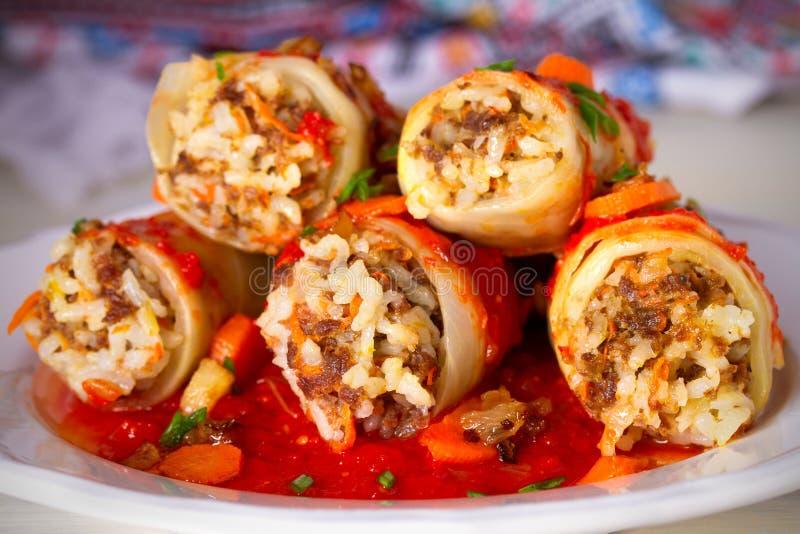 Kål rullar med kött, ris och grönsaker Chou farci, dolma, sarma, sarmale som är golubtsy - populär maträtt i många countr fotografering för bildbyråer