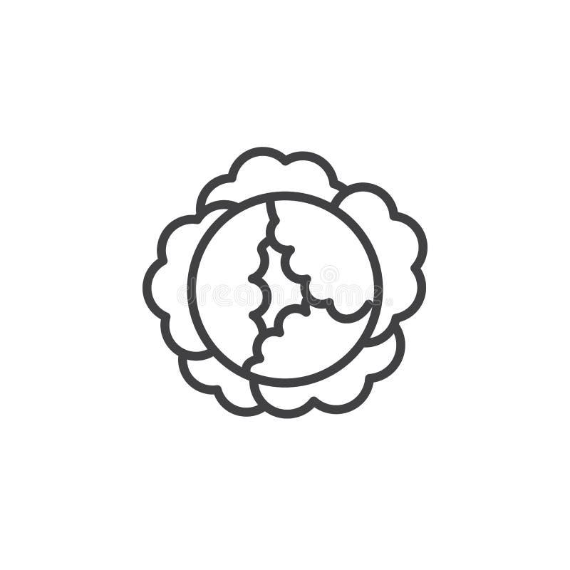 Kållinje symbol, översiktsvektortecken, linjär pictogram som isoleras på vit royaltyfri illustrationer