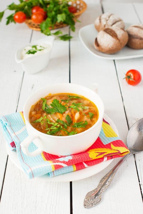Kålsoppa med tomaten och grönska arkivbilder