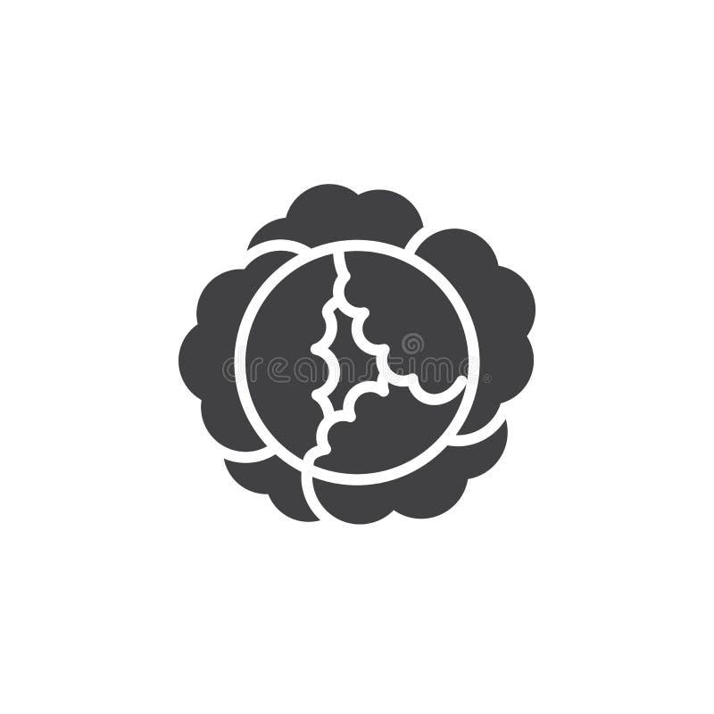 Kålsymbolsvektor, fyllt plant tecken, fast pictogram som isoleras på vit vektor illustrationer