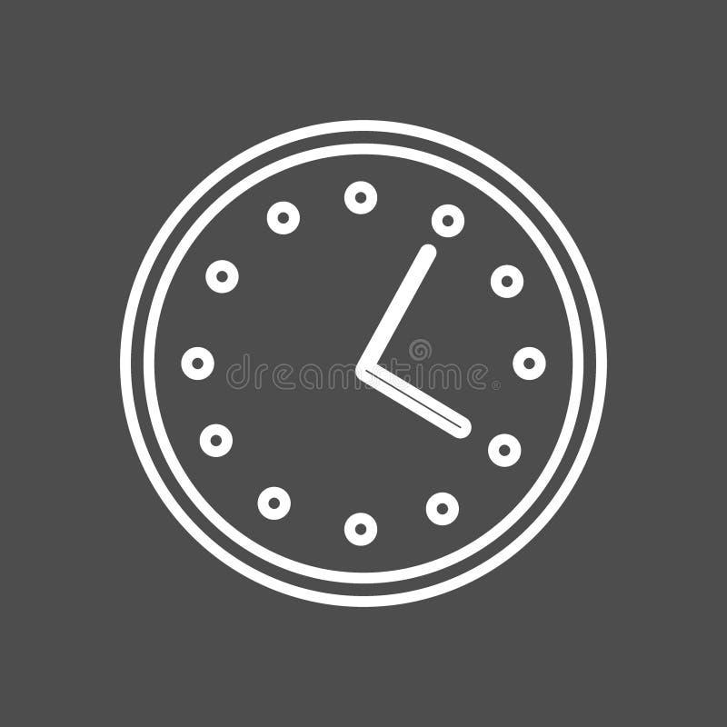 Kółkowa ściennego zegaru linii ikona, konturu wektoru znak, liniowy styl Symbol, logo Editable uderzenie royalty ilustracja